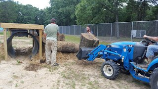, Outdoor playpen being built for three bears
