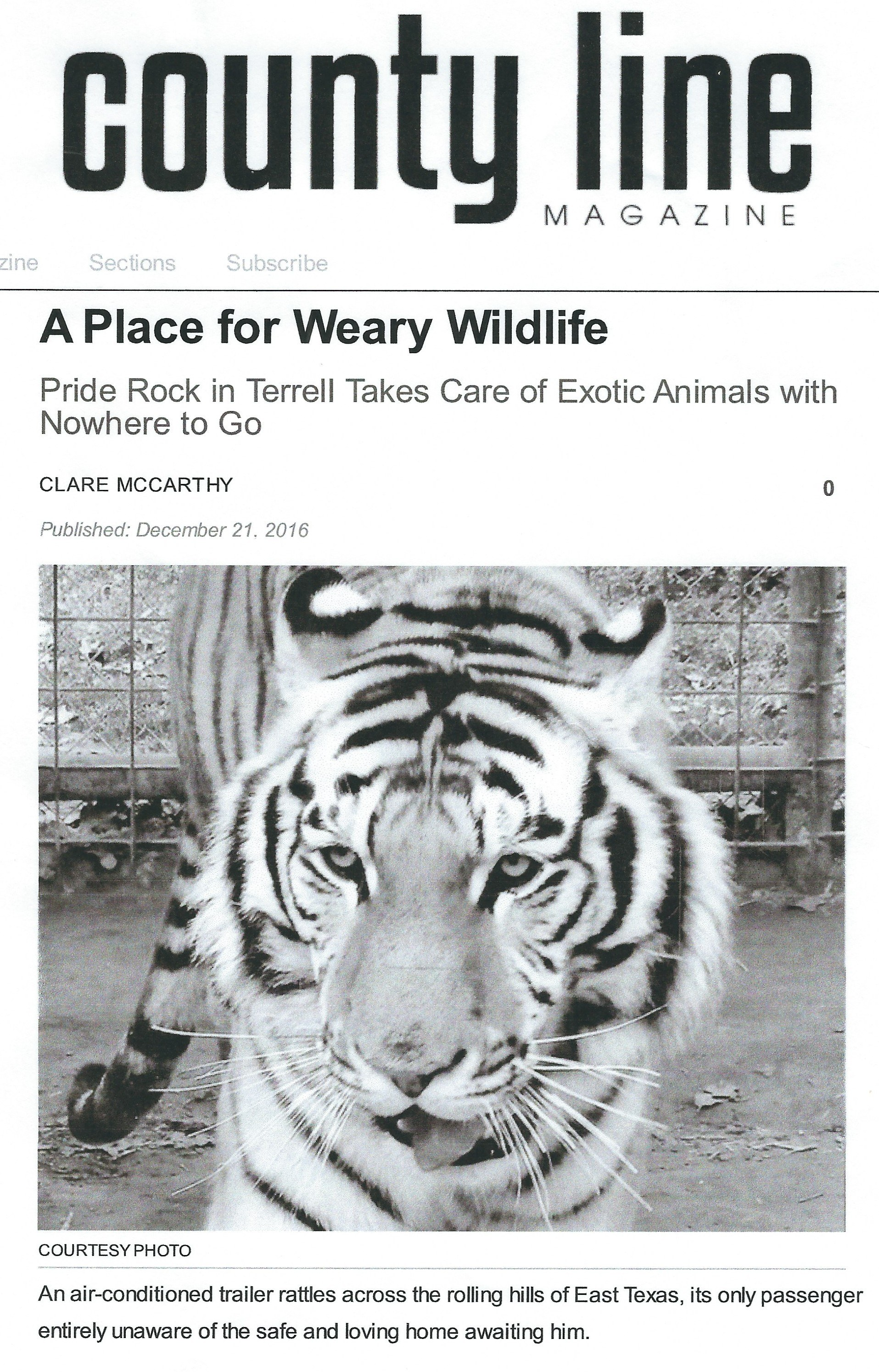 , A Place for Weary Wildlife, County Line Magazine, December 21, 2016