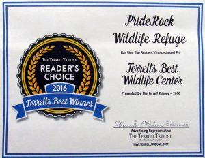 , PrideRock named 2016 Best Wildlife Center, Terrell Tribune, January 2016