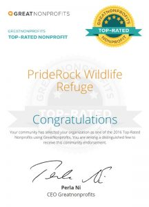 , PrideRock Wildlife Refuge makes 2016 Great Non-Profits Top-Rated Organizations